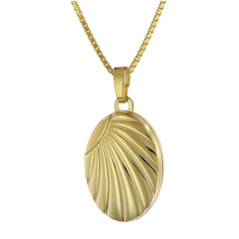 trendor 75779 Medaillon-Anhänger Gold 333 + vergoldete Silber-Halskette 4260641757794
