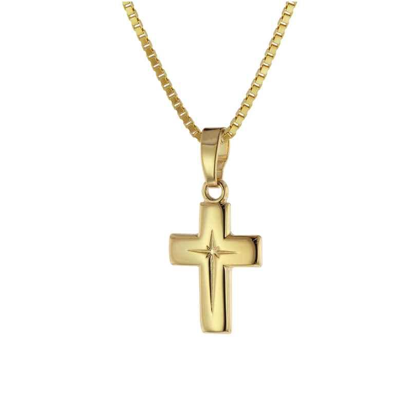 trendor 75786 Kinder Kreuz-Anhänger Gold 333 (8 Karat) + plattierte Halskette 4260641757862