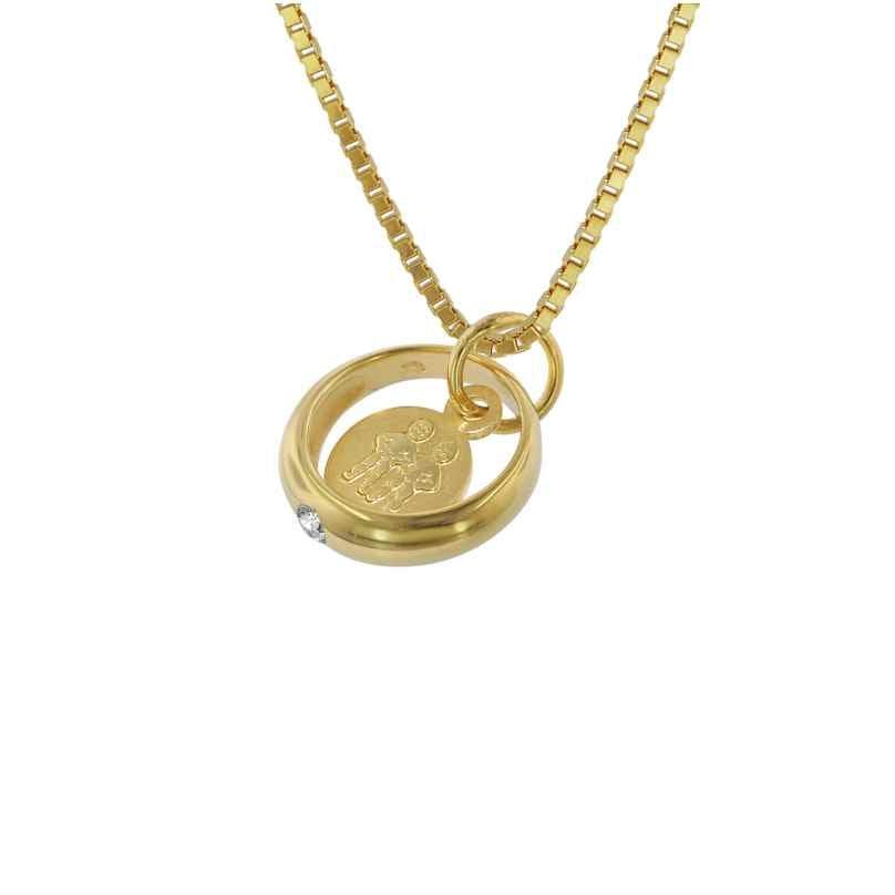 trendor 75817 Taufring Sternzeichen Zwilling Gold 333 + vergoldete Halskette 4260641758173