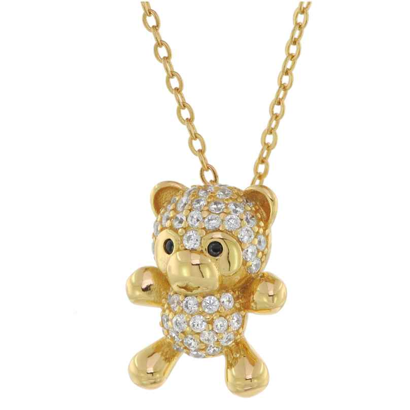 trendor 75854 Ladies' Necklace Teddy Bear Pendant Gold Plated Silver 4260641758548