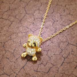 trendor 75854 Ladies' Necklace Teddy Bear Pendant Gold Plated Silver
