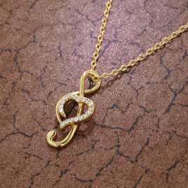 trendor 75855 Women's Clef Pendant Necklace Gold Plated Silver Cubic Zirconias