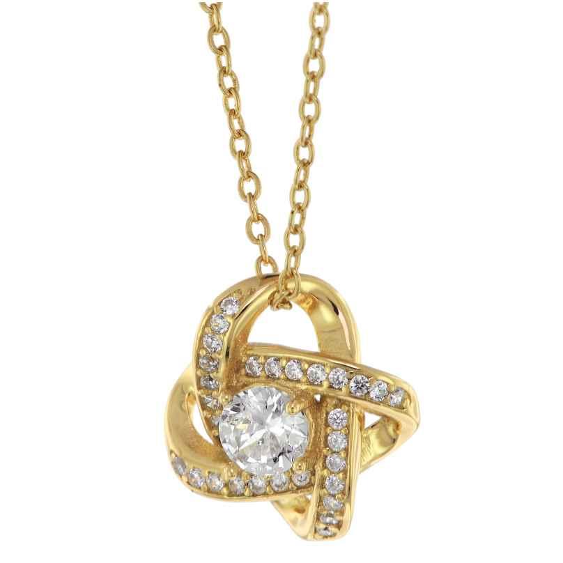 trendor 75856 Damen-Halskette Gold auf Silber Anhänger Knoten mit Zirkonias 4260641758562