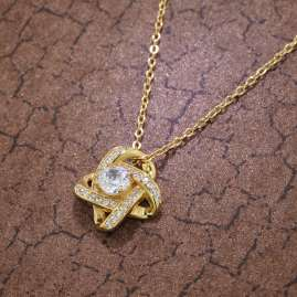 trendor 75856 Ladies' Knot Pendant Necklace Gold Plated Silver Cubic Zirconias