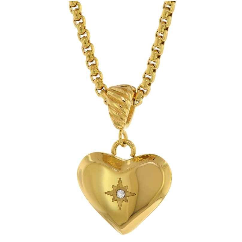 trendor 75882 Damen-Halskette Herz-Anhänger Gold auf Edelstahl Venezia-Kette 4260641758821