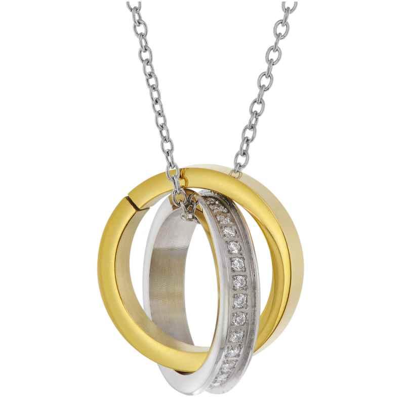 trendor 75885 Halskette für Damen mit Ringen Edelstahl Bicolor 4260641758852