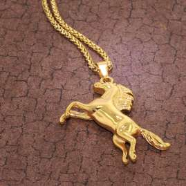 trendor 75886 Ladies' Necklace Horse Gold Plated Stainless Steel