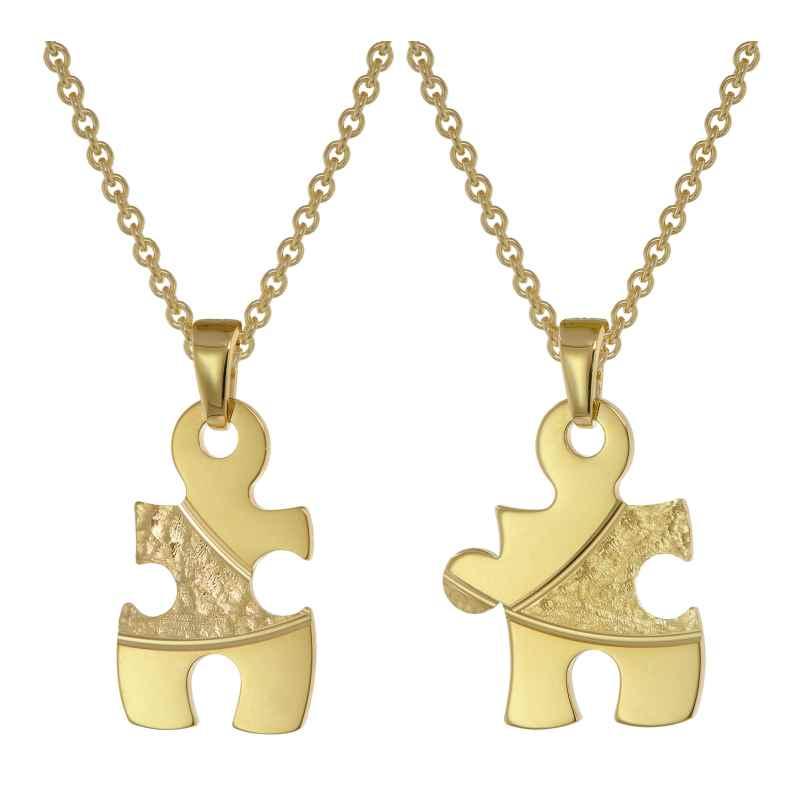 trendor 75950 Puzzle Partner Set Gold auf Silber + 2 Halsketten 4260641759507