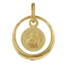 trendor 75954 Necklace with Cupid Christening Ring Gold Plated Silver