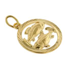 trendor 75940-03 Zodiac Sign Pisces Gold 333 Pendant Ø 16 mm + Necklace