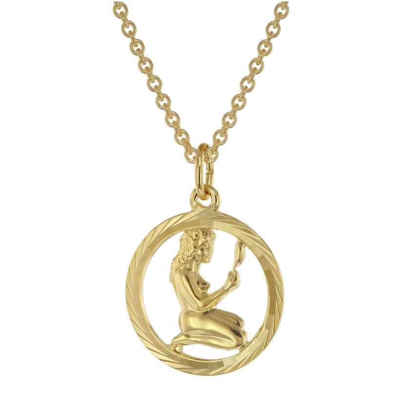 trendor 75940-09 Sternzeichen Jungfrau Gold 333 Anhänger Ø 16 mm + Halskette 4260641759453
