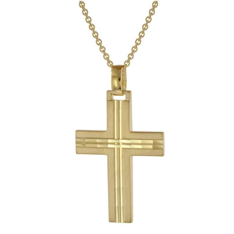 trendor 39020 Halskette mit Kreuz für Herren Gold auf Silber