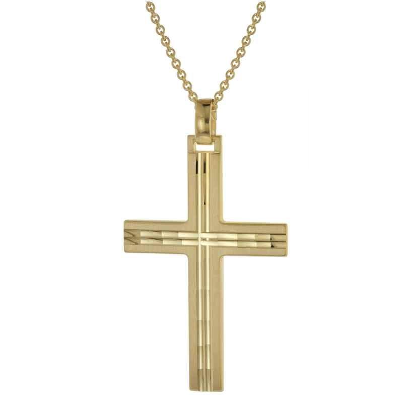trendor 39022 Herren-Halskette mit Kreuz-Anhänger Gold auf Silber