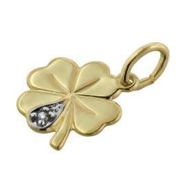 trendor 39026 Halskette für Mädchen mit Kleeblatt-Anhänger Gold auf Silber