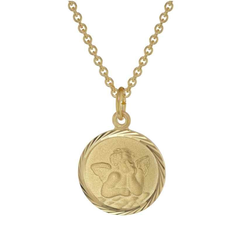 trendor 39030 Kinder-Halskette mit Schutzengel Anhänger Gold auf Silber