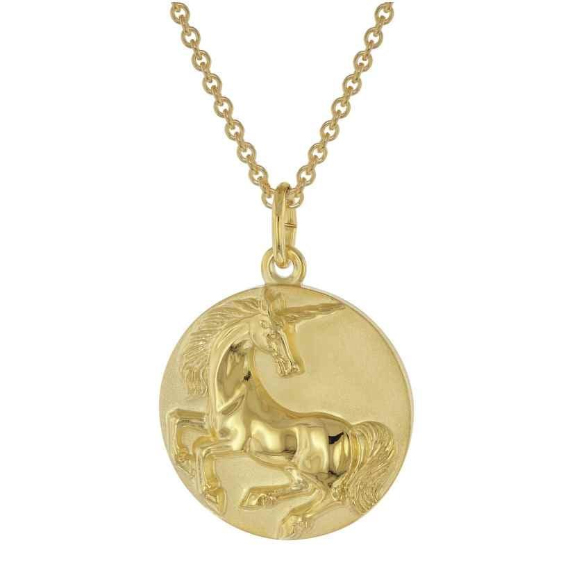 trendor 39046 Halskette mit Einhorn-Anhänger Gold auf Silber 925