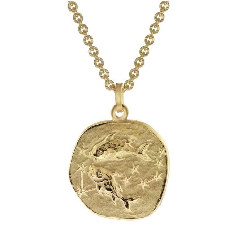 trendor 39070-03 Fische Sternzeichen Anhänger Herrenkette Gold auf Silber