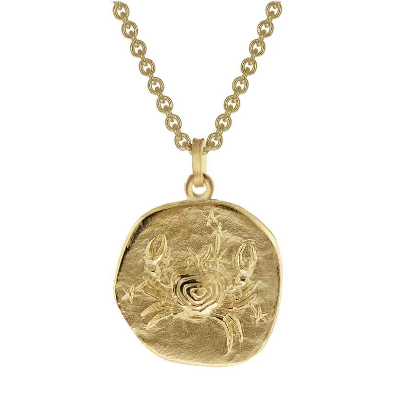 trendor 39070-07 Zodiac Sign Cancer Men's Necklace Gold Plated Silver 925