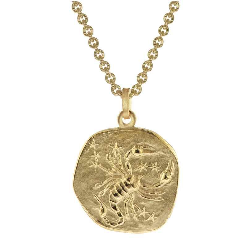trendor 39070-11 Zodiac Sign Scorpio Men's Necklace Gold Plated Silver 925