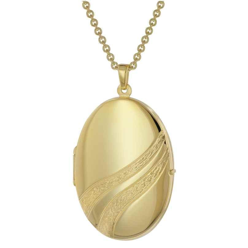 trendor 39095 Medaillon mit Damen-Halskette Gold auf Silber 925