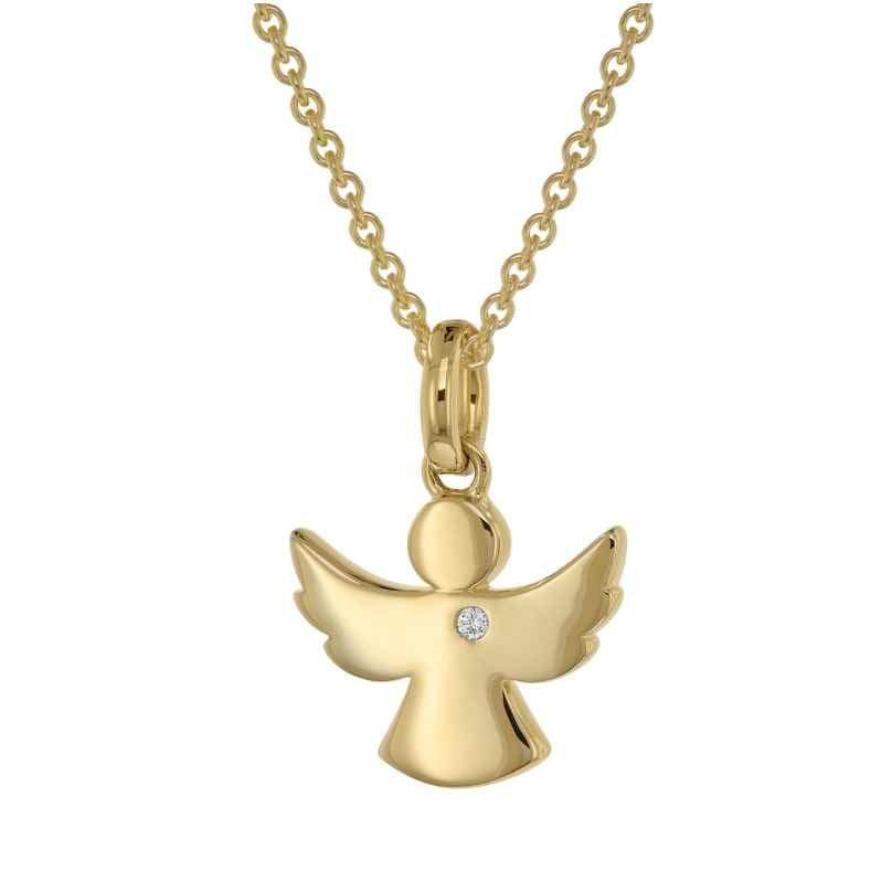 trendor 39401 Engel Anhänger mit Diamant Gold 585 + plattierte Silberkette