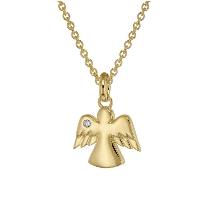 trendor 39403 Angel Pendant Gold 585 with Diamond + Plated Silver Necklace