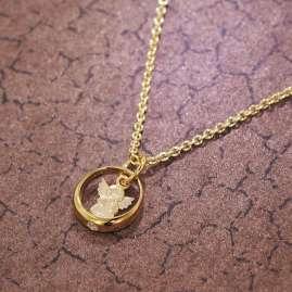 trendor 39482 Taufring mit Engel Gold 585/14 Kt + goldplattierte Silberkette