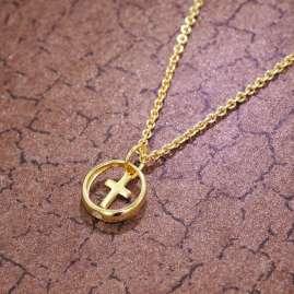 trendor 39485 Taufring Anhänger mit Kreuz Gold 333 + vergoldete Silberkette