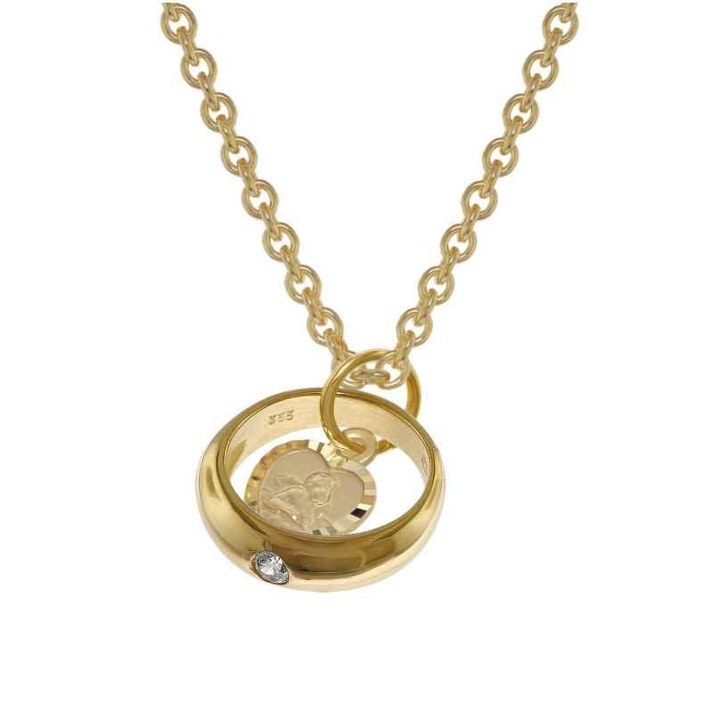 trendor 39455 Taufring mit Engelherz Gold 333 an goldplattierter Silberkette