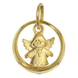 trendor 39466 Taufring mit Herzengel Gold 585/14 Kt + plattierte Silberkette
