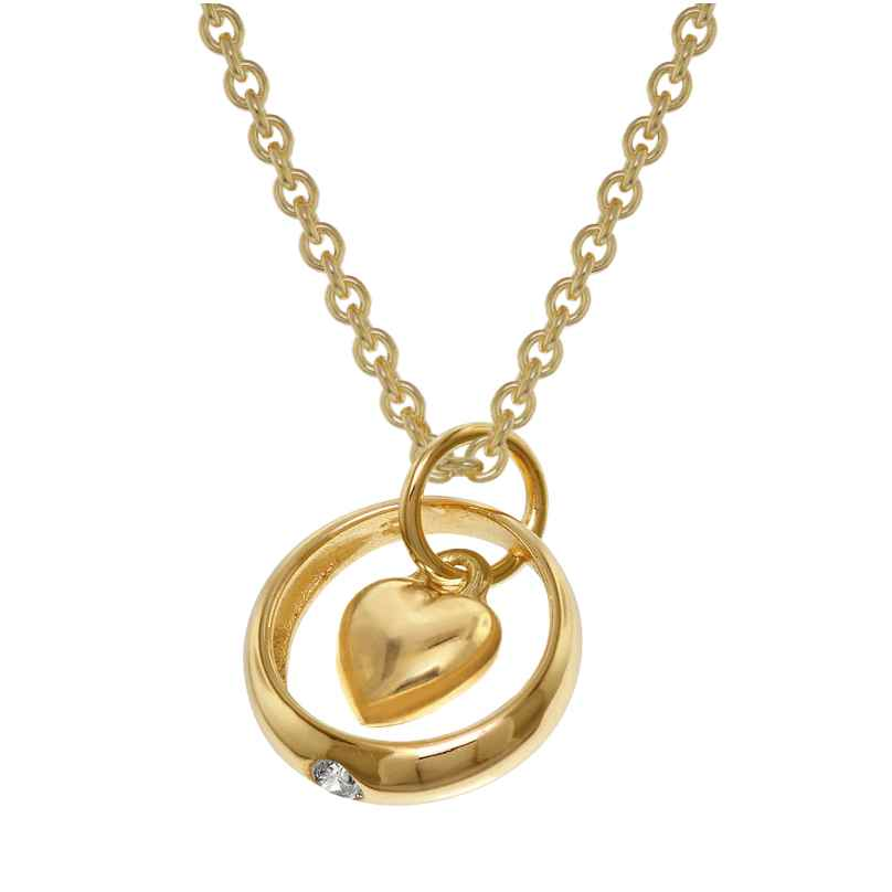 trendor 39470 Baptim Ring Pendant Heart 333 Gold + Gold-Plated Silver Necklace