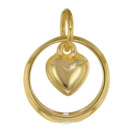 trendor 39470 Taufring Anhänger Herz 333 Gold + plattierte Silberkette