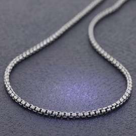 trendor 39510 Men's Necklace 925 Silver Oxidized Round Box Chain 50 cm