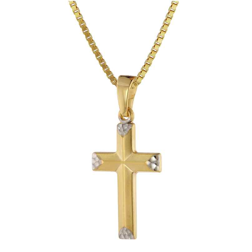 trendor 39524 Halskette mit Kreuz für Mädchen Gold 333/8 Karat Bicolor