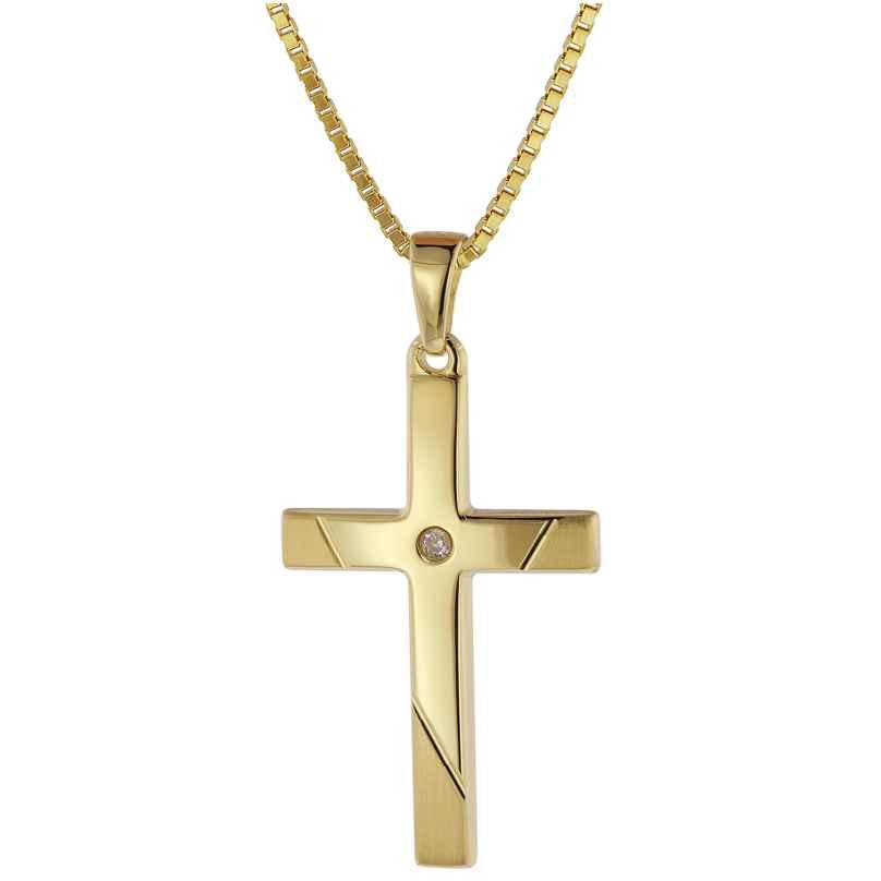 trendor 39526 Halskette mit Kreuz-Anhänger Gold 333/8 Karat