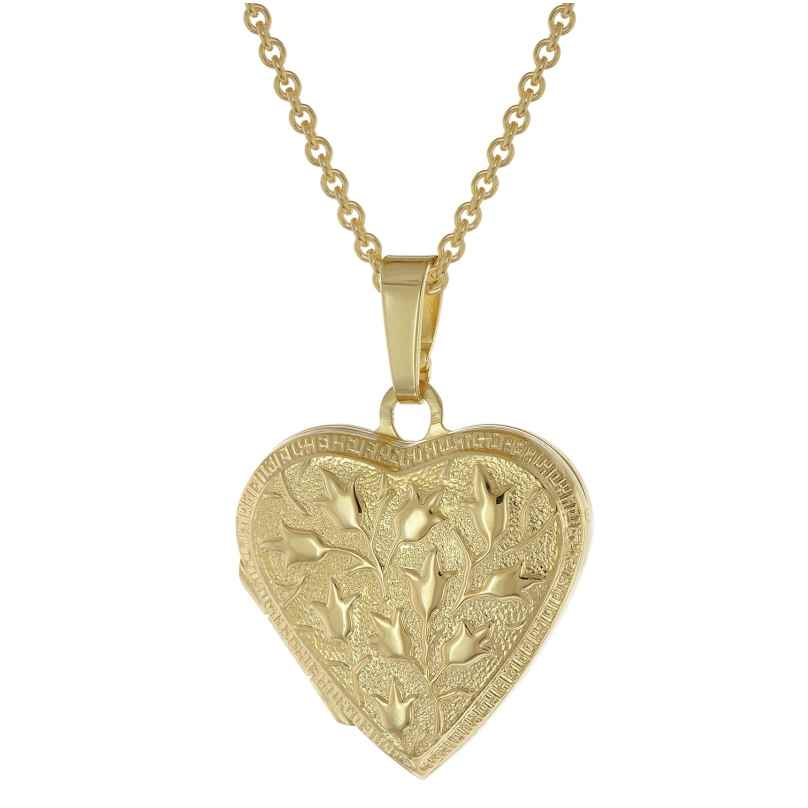 trendor 39535 Medaillon Herz mit Kette Gold plattiertes 925 Silber