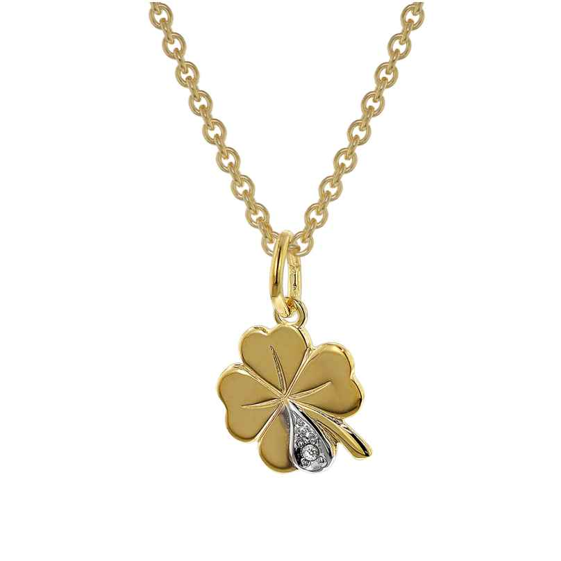 trendor 39480 Clover Pendant with Diamond 333 Gold On Gold-Plated Necklace