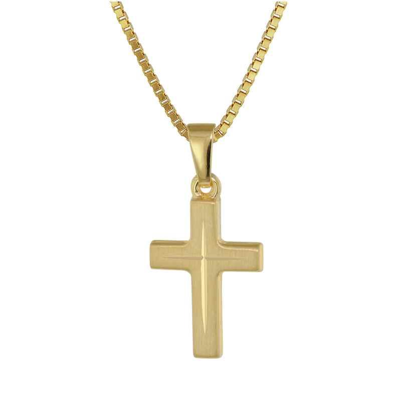 trendor 39575 Kreuz-Anhänger für Kinder Gold 333 + goldplattierte Silberkette