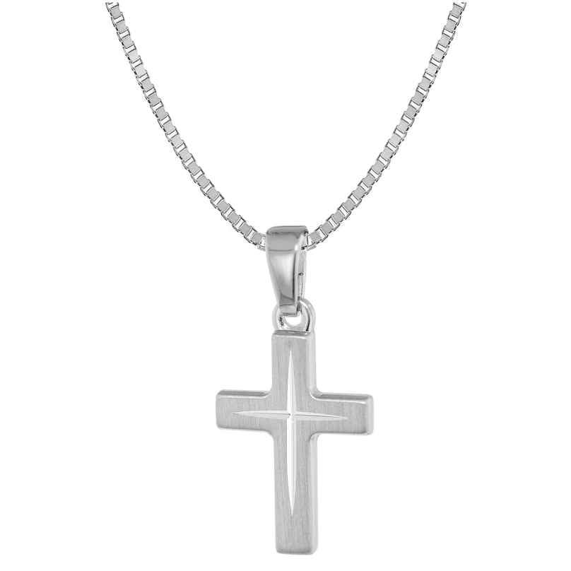 trendor 39580 Kinder-Halskette mit Kreuz-Anhänger 925 Silber