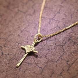 trendor 39678 Cross Pendant Gold 333 + Gold-Plated Silver Necklace