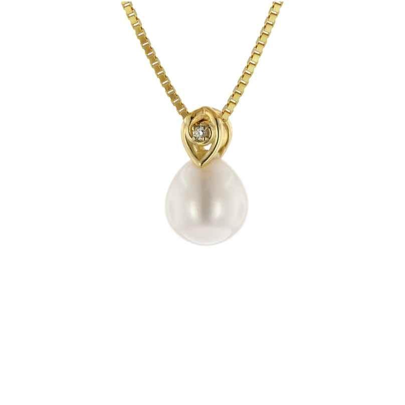 trendor 39679 Anhänger Gold 333 mit Diamant und SWP an vergoldeter Silberkette 4260684396790