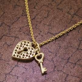 trendor 39798 Anhänger Schloss & Schlüssel Gold 333 + vergoldete Silberkette