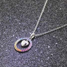 trendor 51027 Damen-Halskette Herz-Anhänger mit bunten Zirkonia 925 Silber