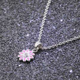 trendor 51034 Girls Necklace with Pendant 925 Silver Flower Rose