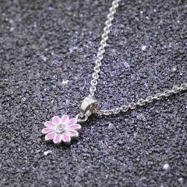 trendor 51034 Halskette für Mädchen mit Anhänger 925 Silber Blume Rosé