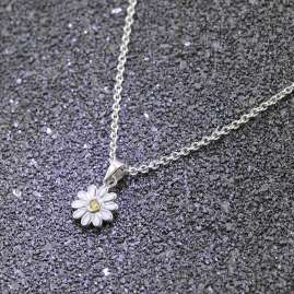 trendor 51036 Mädchen-Halskette mit Anhänger 925 Silber Blume Weiß