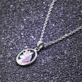 trendor 51038 Mädchen Halskette mit Anhänger 925 Silber Einhorn