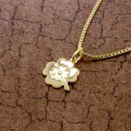 trendor 51087 Kinder Kleeblatt-Anhänger 333 Gold an Vergoldeter Silberkette