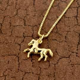 trendor 51089 Kinder Pferdchen-Anhänger Gold 333/8K + vergoldete Silberkette