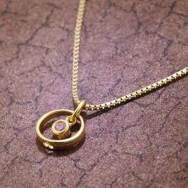 trendor 51099 Kinder Taufring-Anhänger Herz Gold 333 + Vergoldete Silberkette